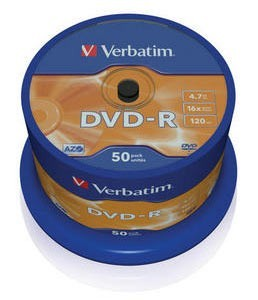 Диск DVD-R Verbatim 4.7Gb 16x Cake Box (50шт) (43548)